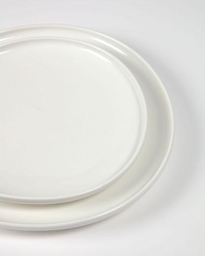 Plat pla Pahi rodó porcellana blanc