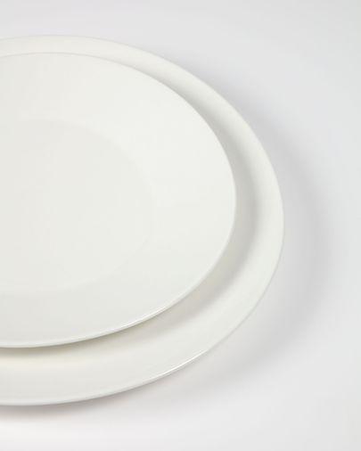 Assiette plate ovale Pierina porcelaine blanc