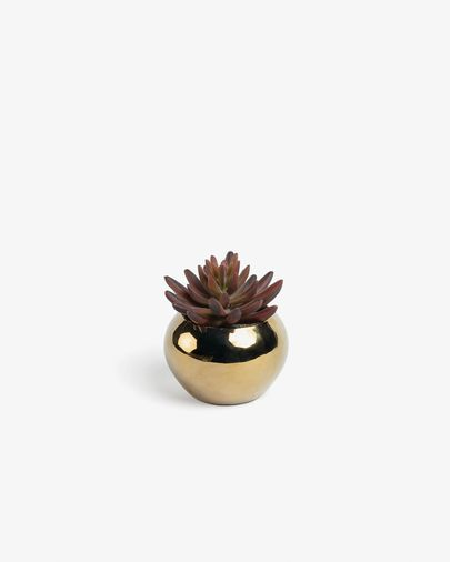 Sedum lucidum artificial plant in gold ceramic pot
