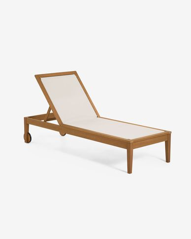 Caterin solid eucalyptus sun lounger in beige
