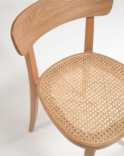 Chaise Romane bois massif de hêtre naturel avec contreplaqué de frêne et rotin