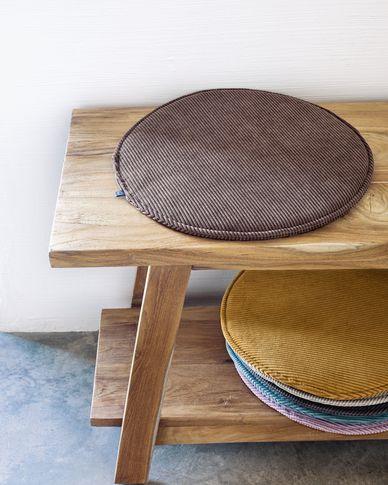 Sora round corduroy chair cushion in brown, 35 cm