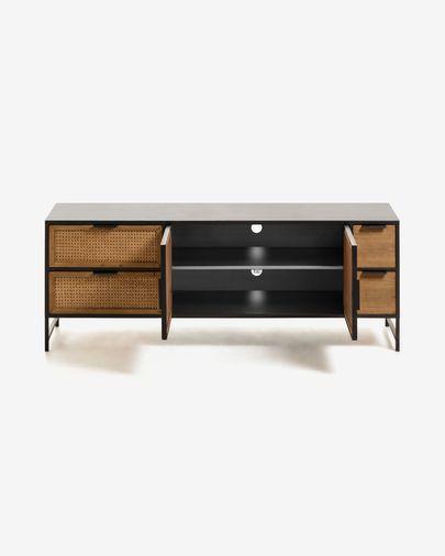 Mueble TV Kyoko 150 x 55 cm de madera maciza de abeto mimbre y acero