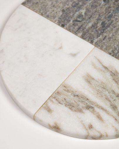 Tabla de cortar redonda grande Xamila de mármol multicolor