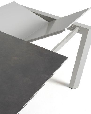 Extendable table Axis 160 (220) cm porcelain Vulcano Roca finish gray legs