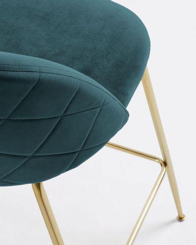 Kruk Ivonne turquoise fluweel hoogte 76 cm