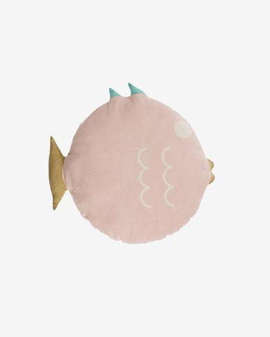 Poduszka w kształcie rybki Delmare100% bawełna różowa Ø 45 cm