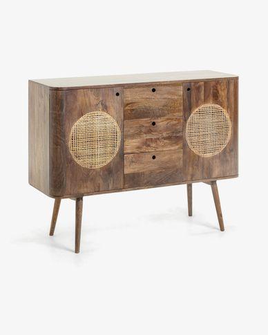 Aparador Geraldine 120 x 90 cm de madera maciza de mango y ratán