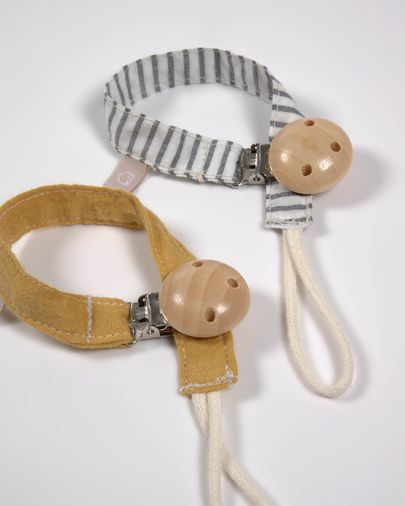 Set of two 100% organic cotton (GOTS) Manon dummy clips in beige and pink polka dots