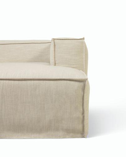 Sofa Blok 2-osobowa z prawym szezlongiem w białym płótnie ze zdejmowanym pokrowcem