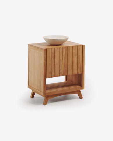 Moble de bany rectangular amb pica lavabo Kuveni de fusta massissa de teca 70 x 92 cm
