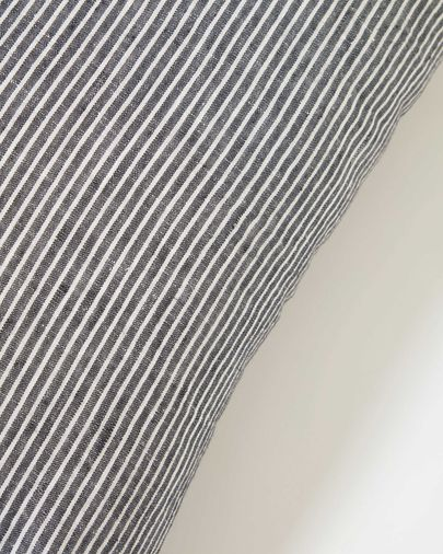 Marena 100% linen cushion cover with black and white stripes 45 x 45 cm