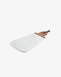 Tabla de servir triangular oval Bryant mármol blanco y madera maciza acacia