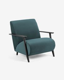 Meghan armchair in turquoise velvet with solid ash legs with wenge finish