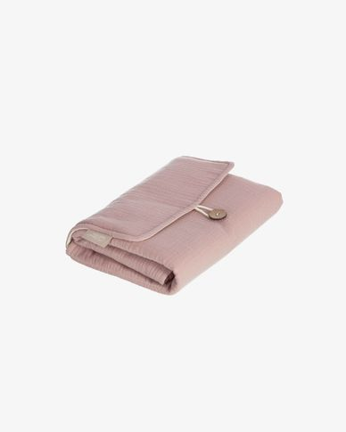 100% organic cotton (GOTS) Jeila travel changing mat in pink