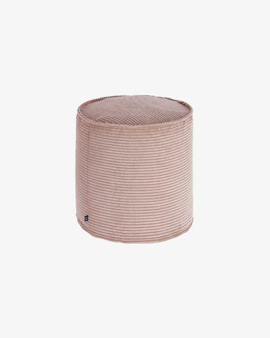 Pouf piccolo Wilma Ø 40 cm velluto a coste rosa