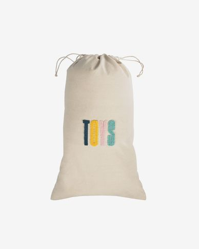 Sira 100% cotton toy bag with yellow and pink letters