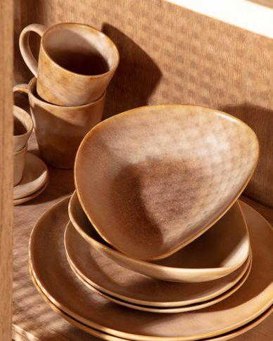 Bol irregular Vreni de cerámica beige