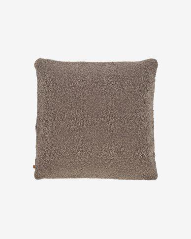 Funda coixí Vicki pell de borrec marró 45 x 45 cm