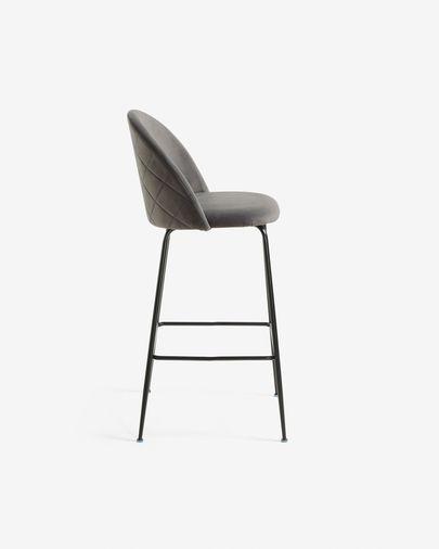 Grey velvet Ivonne stool height 76 cm