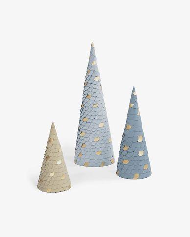 Venetia set of 3 conical trees in blue 20 cm 30 cm 45 cm