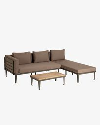 Pascale sofa, chaise longue and side table set FSC 100%