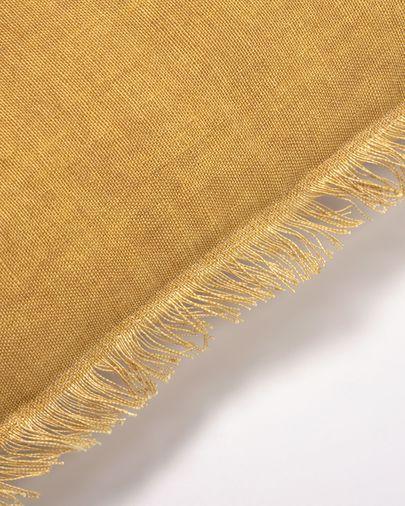 Housse de coussin Almira coton et lin avec franges moutarde 45 x 45 cm