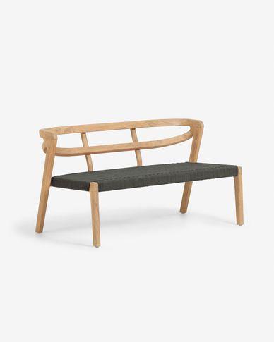 Divano Ezilda 2 posti in legno massello di eucalipto e corda verde FSC 100%