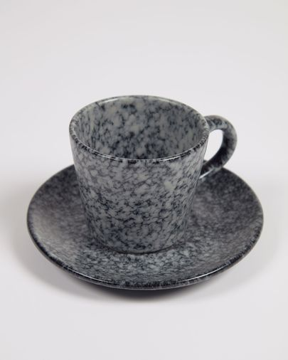 Taza de café Airena con plato de cerámica negro