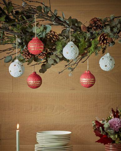 Galia set van 3 kerstballen met strepen