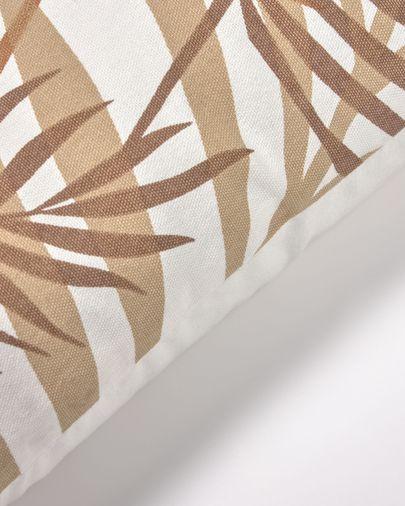 Housse de coussin Amorela 100% coton feuilles marron 45 x 45 cm
