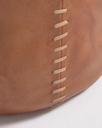 Pouf rotondo Cesia Ø 40 cm in pelle di bufalo marrone
