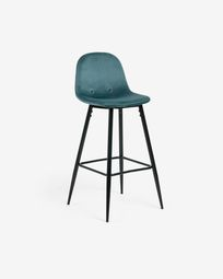 Turquoise fabric Nolite barstool height 75 cm