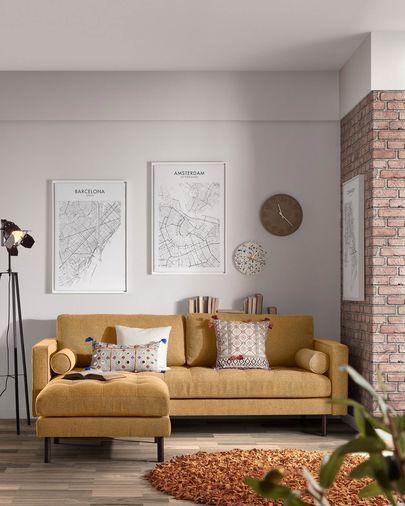 Poggiapiedi Debra 80 x 80 cm senape