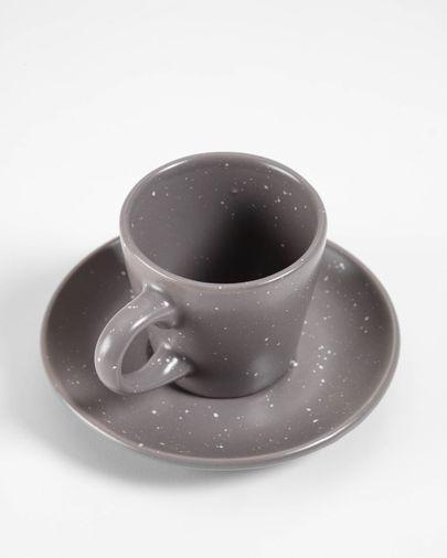 Aratani dark grey cup with plate