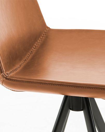 Taburete Zeva marrón y acero con acabado negro altura 75 cm