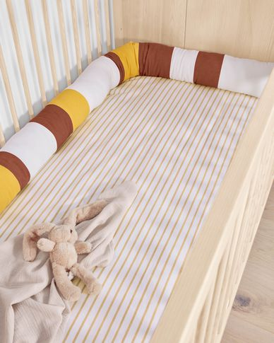 Agnese 100% cotton cushion cover with brown stripes