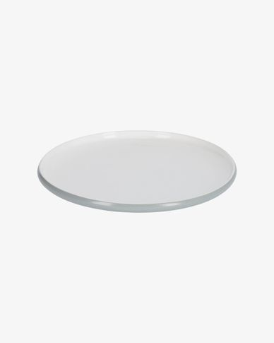 Sadashi flat porcelain plate in grey and white