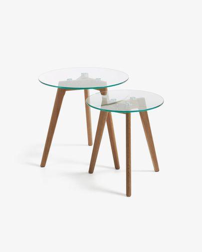 Kirb set of 2 side tables round glass Ø 50 / Ø 40 cm