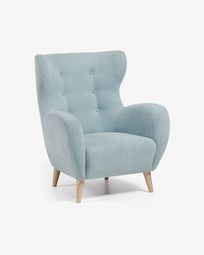Patio armchair in blue with solid natural oak legs