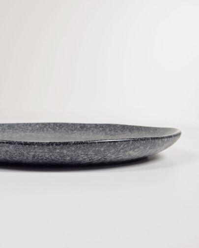 Airena flat ceramic plate in black