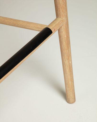Taburete Sheryl madera maciza de eucalipto y cuerda mostaza jaspeado altura 79 cm