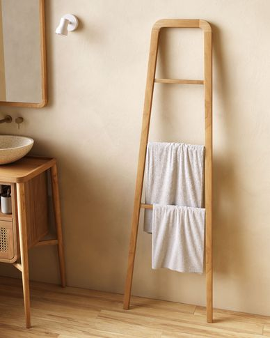 Uliana massief teakhouten handdoekenrek met natuurlijke afwerking 50 x 160 cm