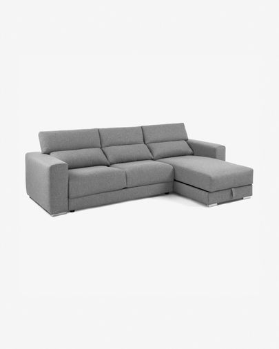 Sofá Atlanta 3 plazas chaise longue gris claro 290 cm