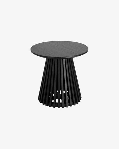 Taula auxiliar Jeanette fusta massissa de mindi negre Ø 50 cm