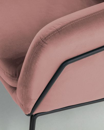 Sofá Brida 2 plazas terciopelo rosa 128 cm