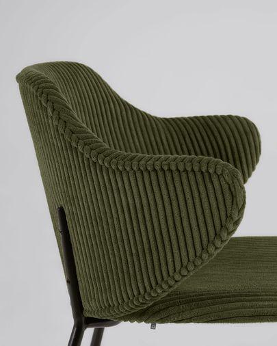 Silla Suanne de pana gruesa verde oscuro con patas de acero acabado pintado negro