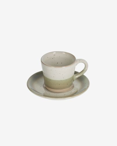Taza de café con plato Elida de cerámica beige y verde