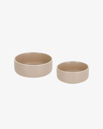 Set of large and small Shun bowls in beige porcelain