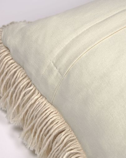 Edelma cotton cushion cover in beige with fringe 45 x 45 cm